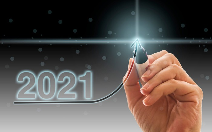 A black magic marker digitally tracing an upward arrow under the numbers 2021.