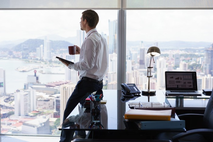 financial advisor in high rise office