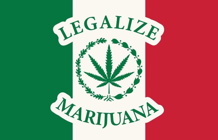 Mexican flag emblazoned with a marijuana leaf and the words LEGALIZE MARIJUANA