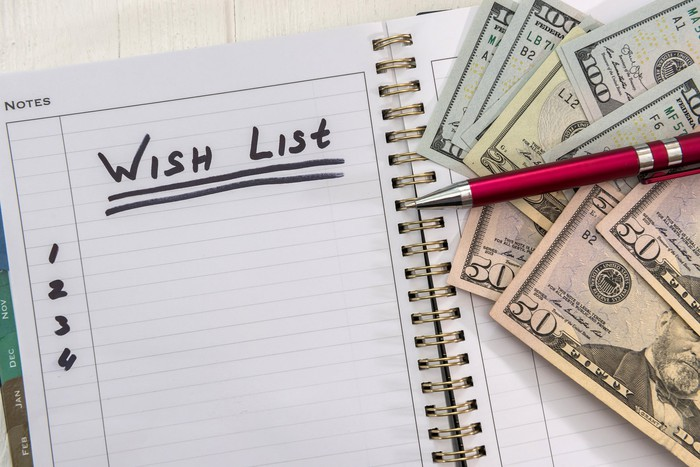 notebook with wish list written on top of page, along with pile of cash