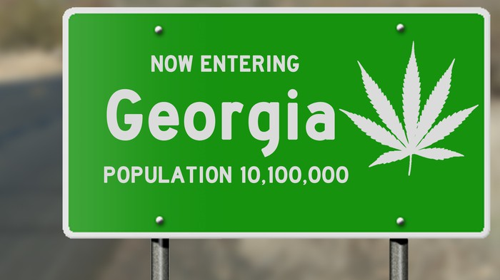 """""""Now entering Georgia"""" sign with a cannabis leaf printed on it"""