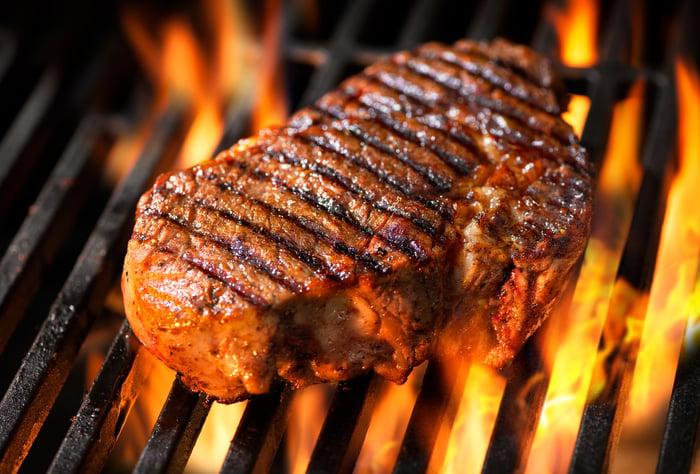 A flame-broiled steak.