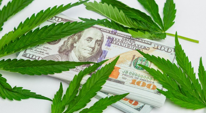 $100 bills and marijuana leaves.
