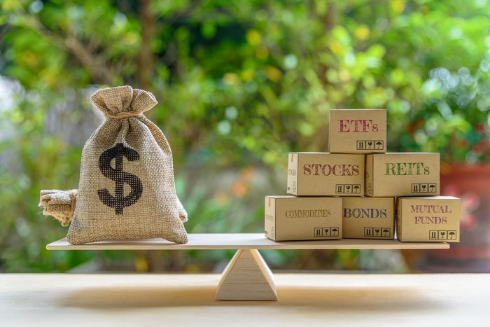 Dollar bag, financial products on balance scale e.g ETFs, REITs, stocks, commodities, bonds, mutual funds, depicts balancing between risk and return.