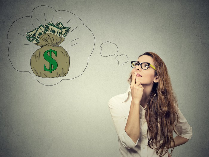Woman with thought bubble showing a bag of money.