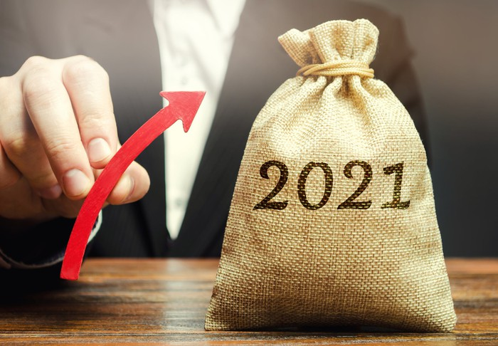 Person holds upward arrow next to moneybag with 2021 printed on it