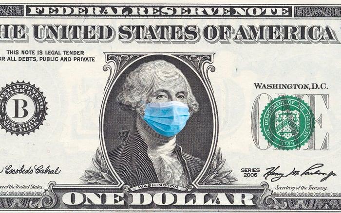 A one-dollar bill featuring George Washington wearing a mask.