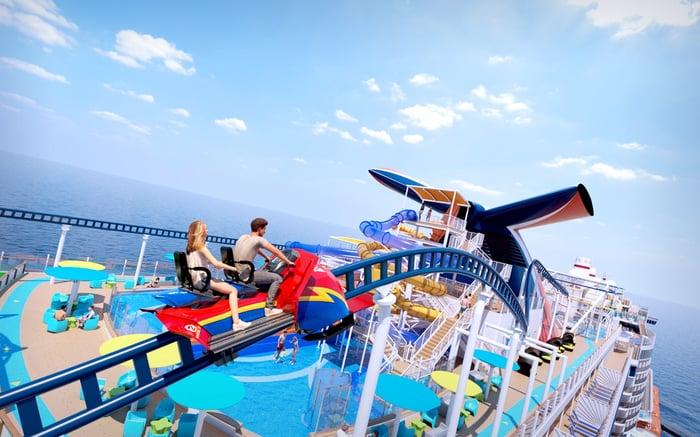 A couple rides a roller coaster on a Carnival cruise ship.