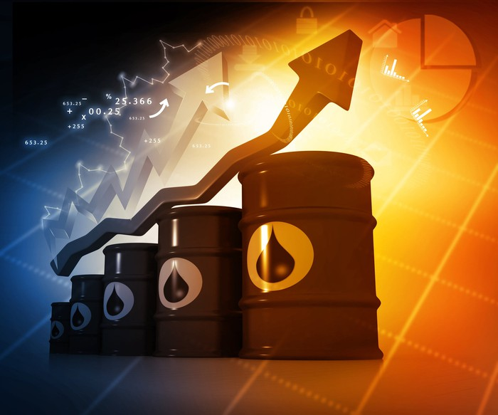 Illustration of a stock market arrow rising above a stack of oil barrels