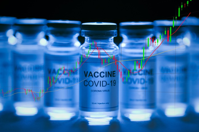 A table of COVID-19 vaccine vials with an ascending trend line superimposed over the vials.