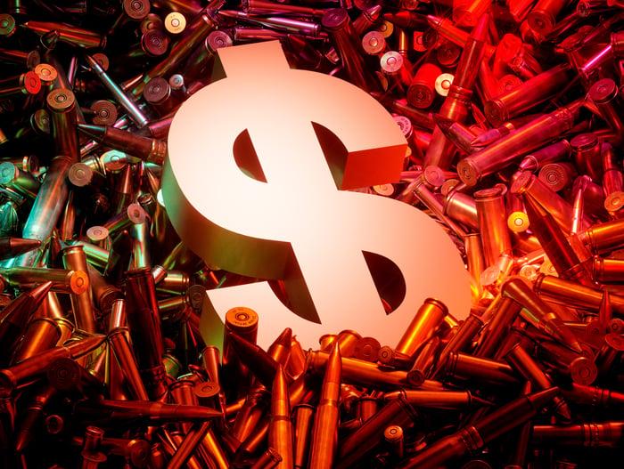 Dollar sign on ammunition