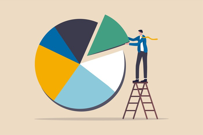 Man in suit on ladder sliding final piece of  pie chart into place