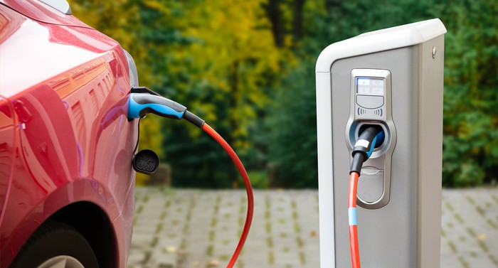 Red electric car plugged into charging station