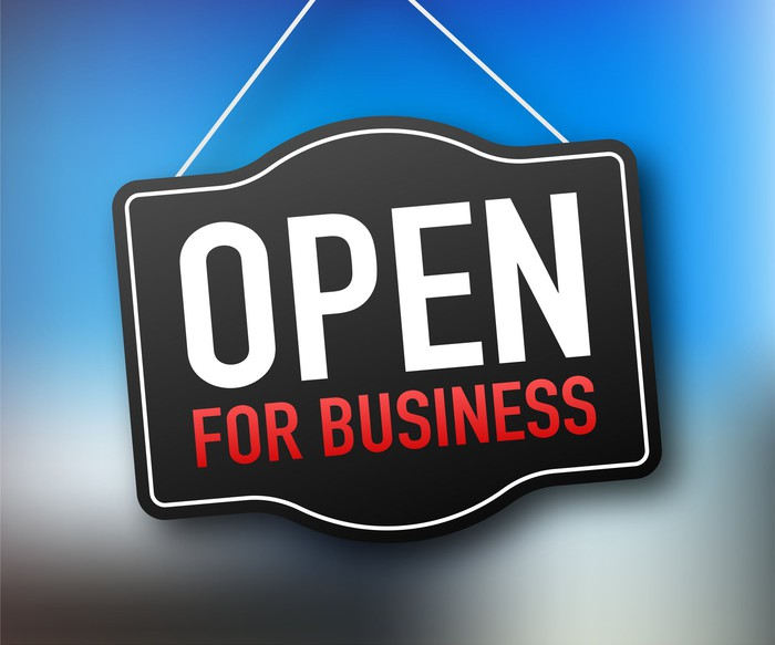 A sign that says Open For Business.