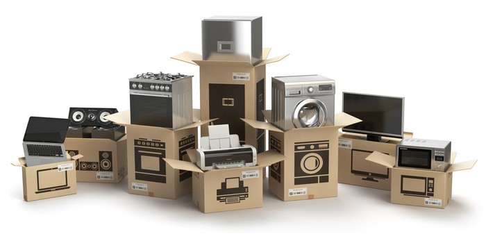 Boxes of consumer electronics and appliances.