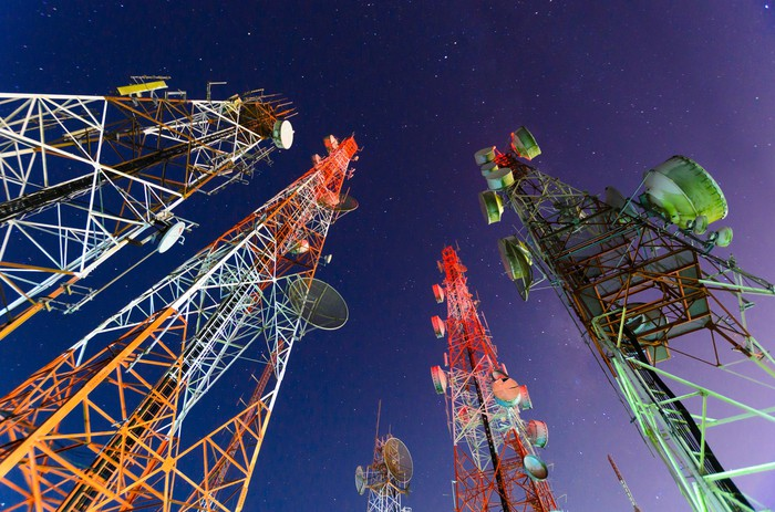 A ground view of telecom towers.