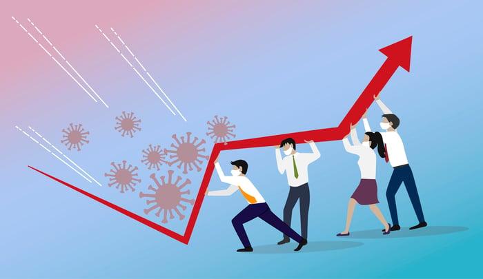 Four cartoon people holding upward red arrow to block coronavirus germs