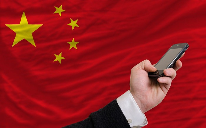 Hand with mobile phone in front of Chinese flag.