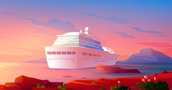 Cartoon painting of a cruise ship.