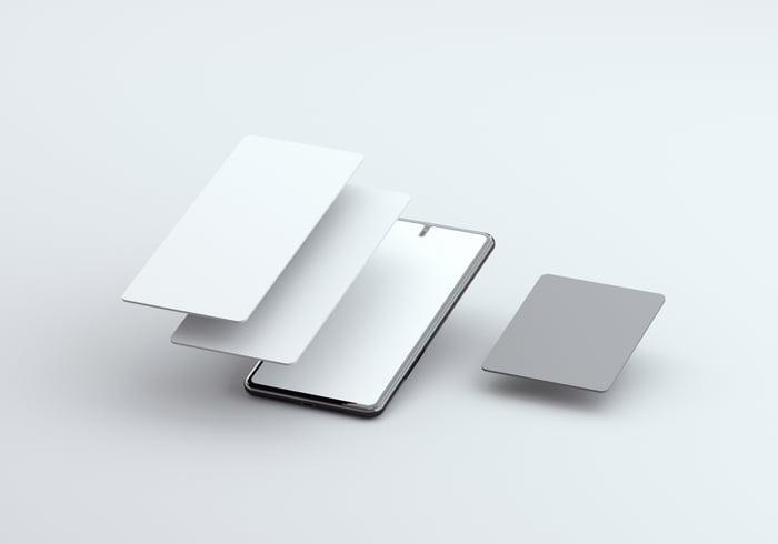 Mobile phone screens.