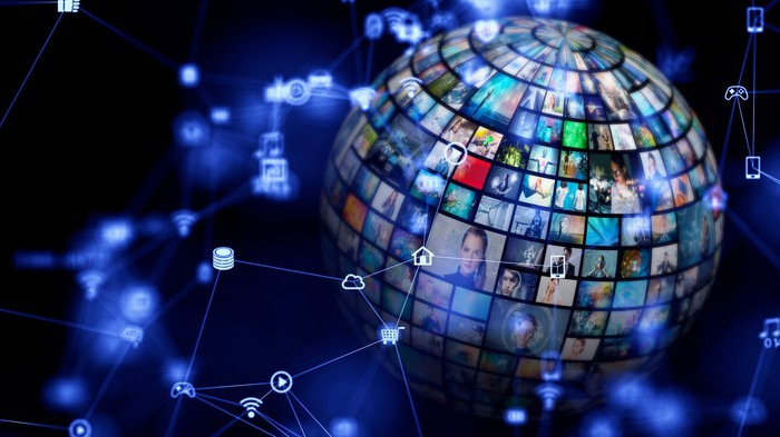 globe covered in television screens showing streaming content