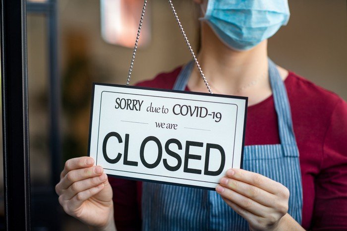 Closed due to COVID-19 sign at a store.