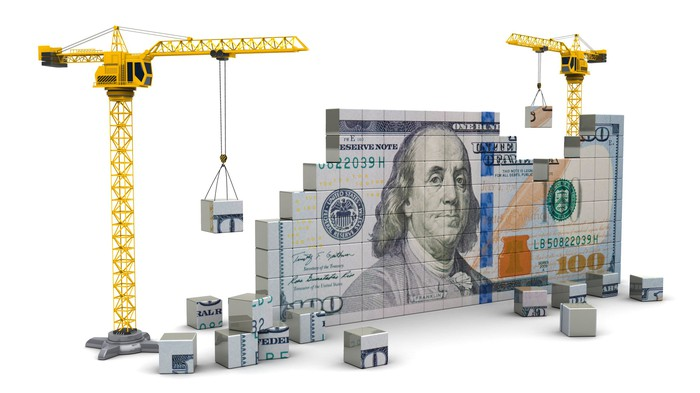 Building a dollar bill out of blocks