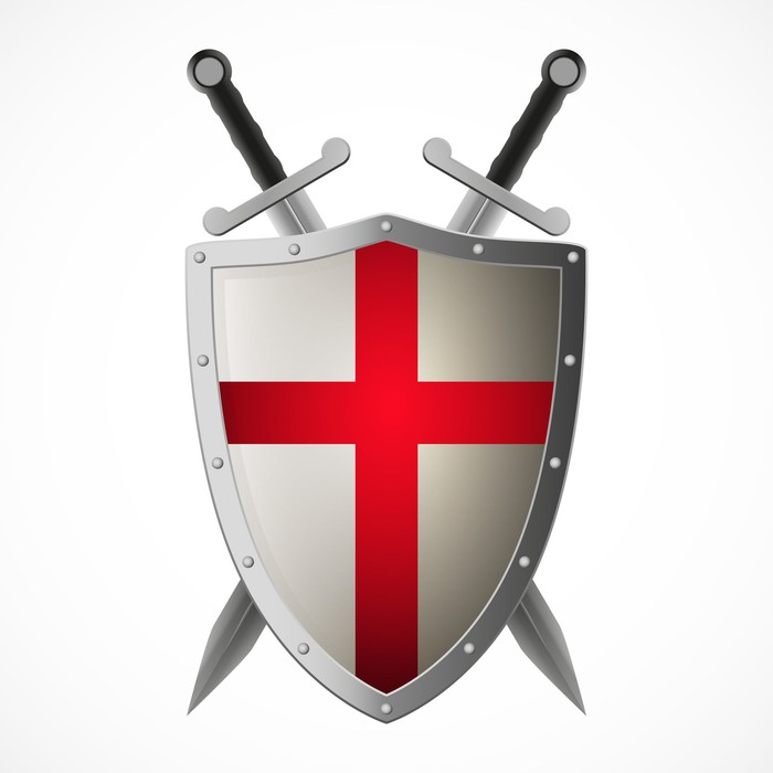 Crusaders shield and crossed swords on plain background.