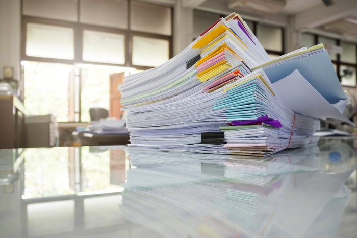 Stacks of collated paper
