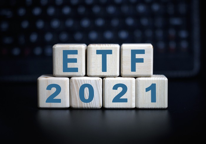 Blocks with the letters ETF on them as well as 2021. The ETF blocks are on top of the 2021 blocks.