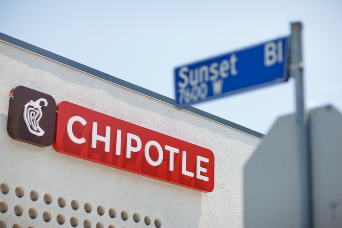 A Chipotle Mexican Grill exterior on Sunset Boulevard in California.