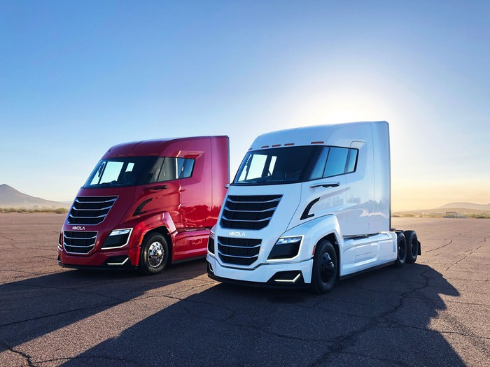 A pair of Nikola Two truck cabs.