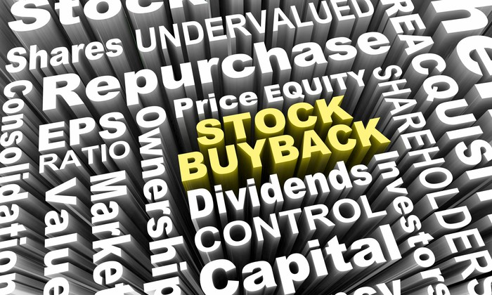 """The words """"stock buyback"""" are outlined in yellow in the center of a maze of financial terms all written in white letters."""