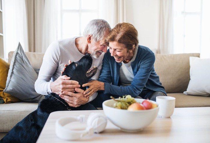 Senior couple sitting on a couch petting a dog and smiling