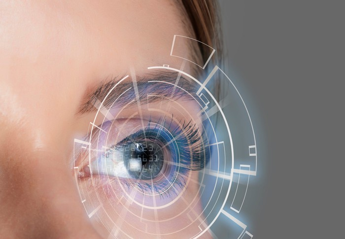 Close-up of woman's eye indicating eye care.