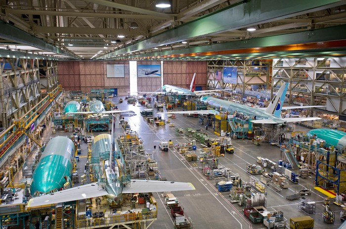 Interior look at Boeing's assembly line.