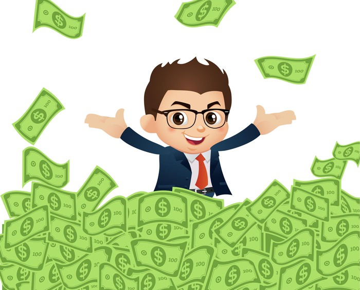 Cartoon man in glasses and suit stands in a pile of money and tosses $100 bills in the air