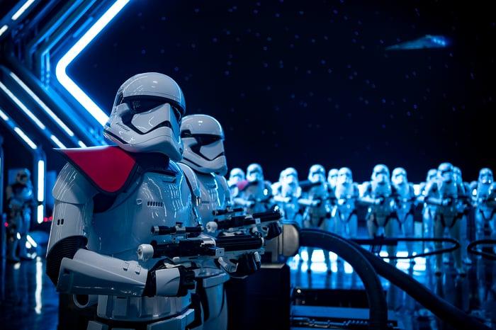 Stormtroopers in Star Wars: Galaxy's Edge at Walt Disney World.