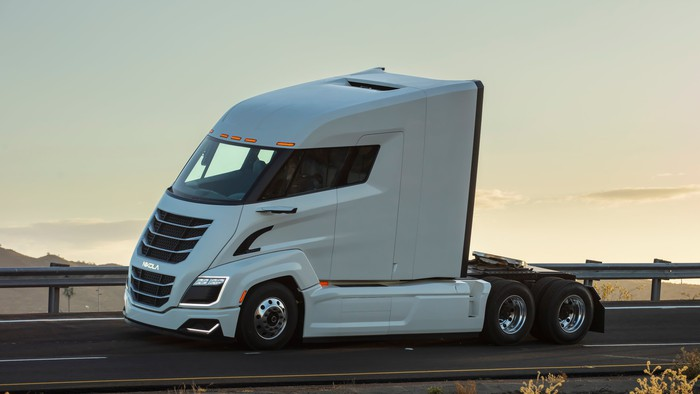 A white Nikola Two, an electric semitruck powered by a hydrogen fuel cell.