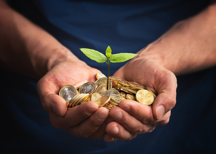 Small plant growing from a pile of coins held by a person.
