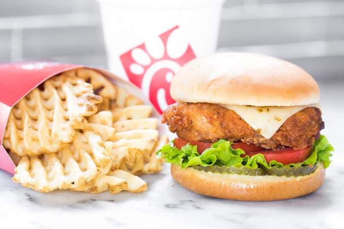 Chick-fil-A chicken sandwich and waffle fries