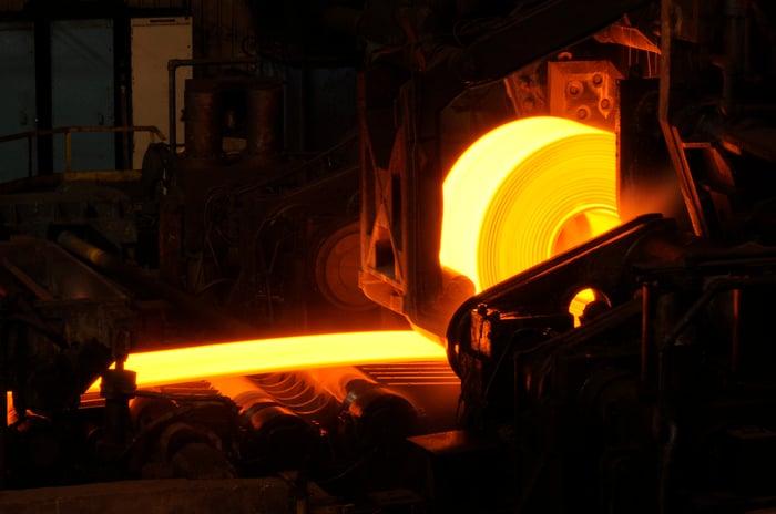 A hot steel roll.