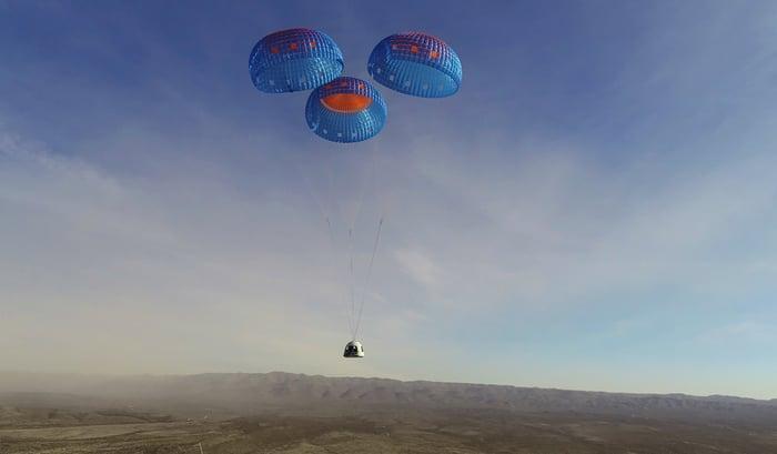 Blue Origin New Shepard crew capsule descends to Earth under parachutes.