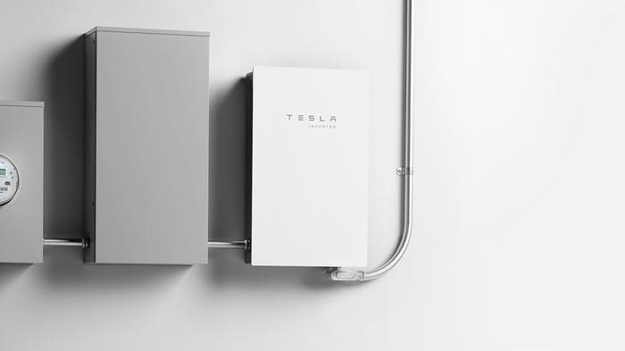 Tesla inverter mounted on a wall