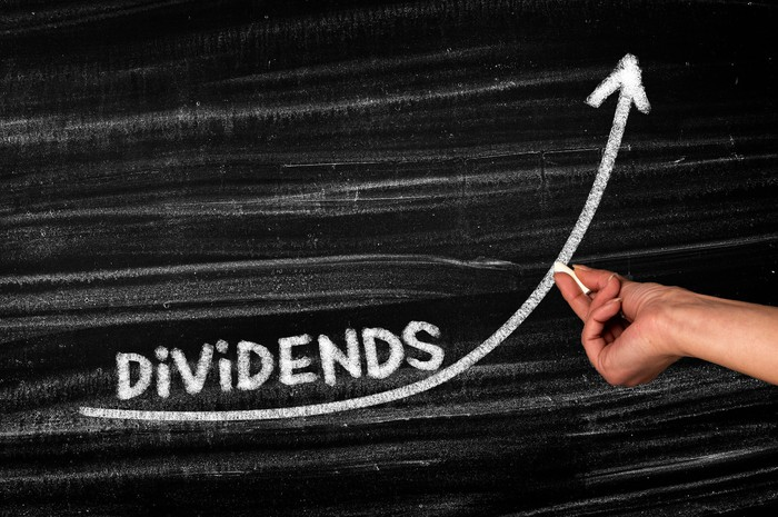 The word dividends on a chalkboard with a person drawing an upward arrow.