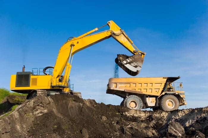 Excavator equipment in action.