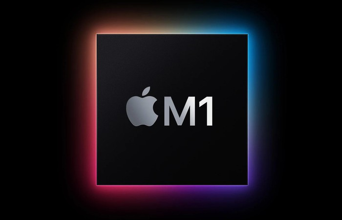 Apple M1 chip with colored background.