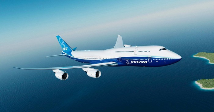 Blue and white Boeing 747-8 aircraft.