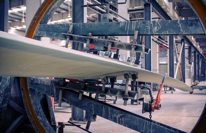 A wind turbine manufacturing facility.