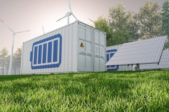 Energy storage containers next to wind turbines and solar panels.